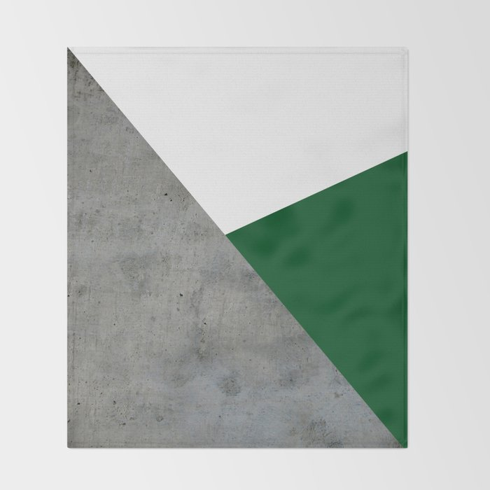 Concrete Festive Green White Throw Blanket