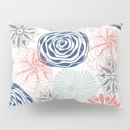 Floral Pattern in Coral Red, Navy Blue and Aqua Pillow Sham