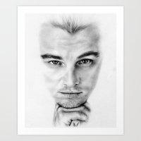 leonardo dicaprio Art Prints featuring Leonardo DiCaprio  by Kirstyturnerportraits
