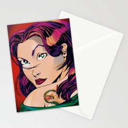 Tattoo Girl - Red Stationery Cards