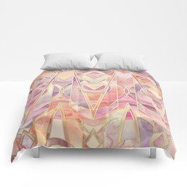 Glowing Coral and Amethyst Art Deco Pattern Comforters