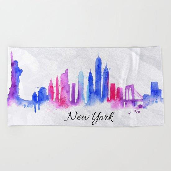 Color New York Skyline 02 Beach Towel