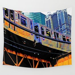 Chicago 'L' in multi color: Chicago photography - Chicago Elevated train Wall Tapestry
