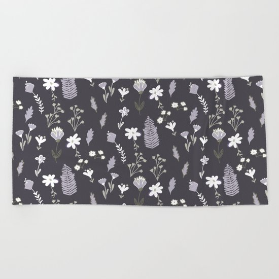 Dark Pastel Violet Flower Pattern Beach Towel