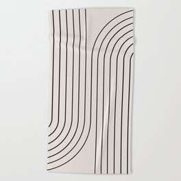 Minimal Line Curvature - Black and White I Beach Towel