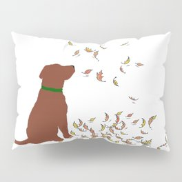 Brown Dog in Fall Leaves Pillow Sham