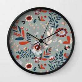 Deep Indigos & Gray Garden Hearts Wall Clock