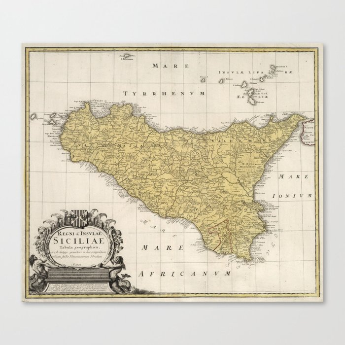 picture regarding Printable Map of Sicily identify Classic Map of Sicily Italy (1747) Canvas Print by means of bravuramedia