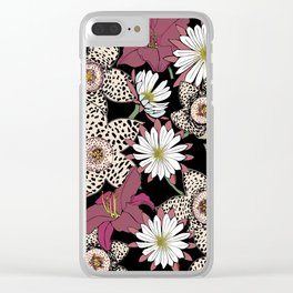 Lilies, spotted stapelia flowers and cactus flowers. Exotic Botanical Clear iPhone Case