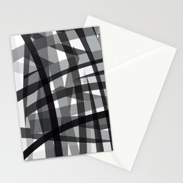 grey crossed stripes Stationery Cards