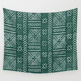 Line Mud Cloth // Brunswick Green Wall Tapestry