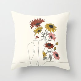 Colorful Thoughts Minimal Line Girl with Sunflowers Throw Pillow