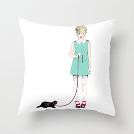 The girl with the ferret Throw Pillow