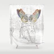 Miss Owl and butterfly friends at the Venice Carnival Shower Curtain