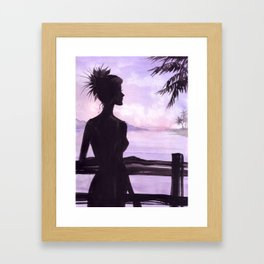 Girl on the Balcony Framed Art Print