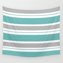 Gray And Blue Striped Wall Tapestry