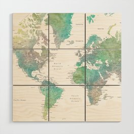 Watercolor world map in muted green and brown Wood Wall Art