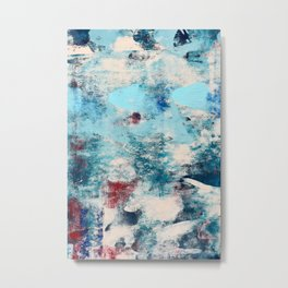 013.4: a bright contemporary abstract piece in southwestern blues and peach by Alyssa Hamilton Art  Metal Print