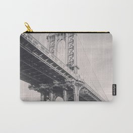 Manhattan Bridge, New York City, black & white, fine art photography, NY Carry-All Pouch