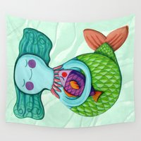 mom Wall Tapestries featuring Mom Mermaid by Chicca Besso