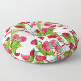 Watercolor hand painted red green strawberries Floor Pillow