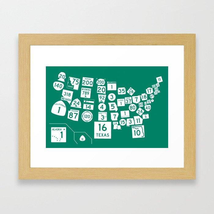 United State Highways of America - Interstate Green Framed Art Print