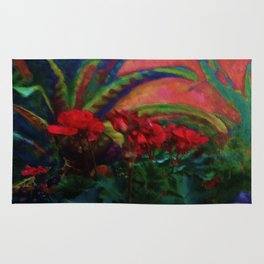 RED GERANIUMS GREEN SUCCULENT PAINTING Rug