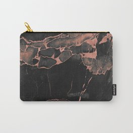 Black Marble and Rose Gold Carry-All Pouch