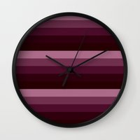 burgundy Wall Clocks featuring burgundy stripes by SimplyChic