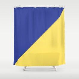 Modern royal blue sunshine yellow trendy color block Shower Curtain