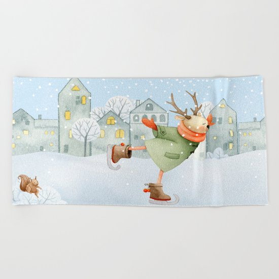 Merry christmas- Ice skating Deer and squirrel are having Winter fun Beach Towel