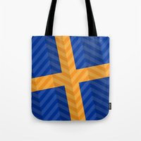 sweden Tote Bags featuring Sweden Flag by m. arief (mochawalk)