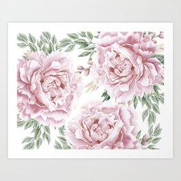 Girly Pastel Pink Roses Garden Art Print