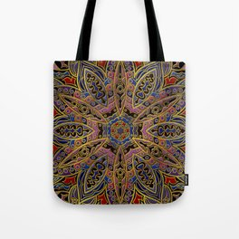 Mandala Gold Embossed on Faux Leather Tote Bag