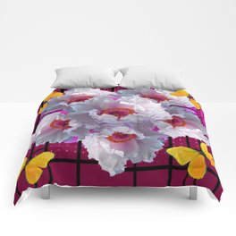 BUTTERFLIES  WHITE TREE PEONY FLOWERS  BURGUNDY ART Comforters