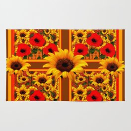 RED POPPIES YELLOW SUNFLOWERS BROWN PATTERN ART Rug