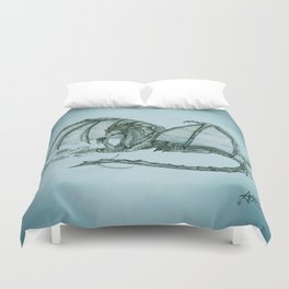"""Material Girl"" by Amber Marine ~ (Sea Mist Version) Graphite Dragon Illustration, (Copyright 2005) Duvet Cover"