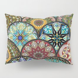 Colorful floral seamless pattern from circles with mandala in patchwork boho chic style Pillow Sham