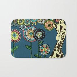 Giraffe with abstract flowers Bath Mat