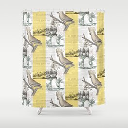 Vintage Tropical Cockatoo Pattern Shower Curtain