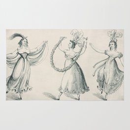The Dancers, young women, black white drawing Rug