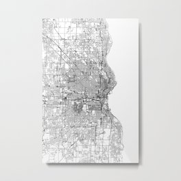 Milwaukee White Map Metal Print