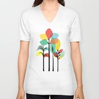 gray V-neck T-shirts featuring Tropical Groove (gray) by Picomodi