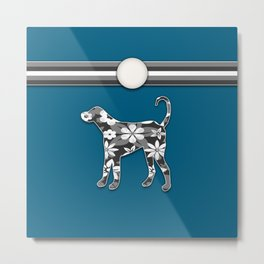 Floral Dog in Blue and Gray Stripes Animals Design Metal Print
