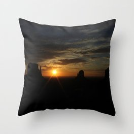 Sunrise over Monument Valley East & West Mitten Buttes Throw Pillow