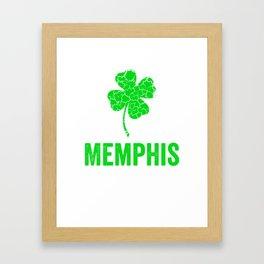 Memphis Irish, St Patricks Day, Four Leaf Clover Framed Art Print