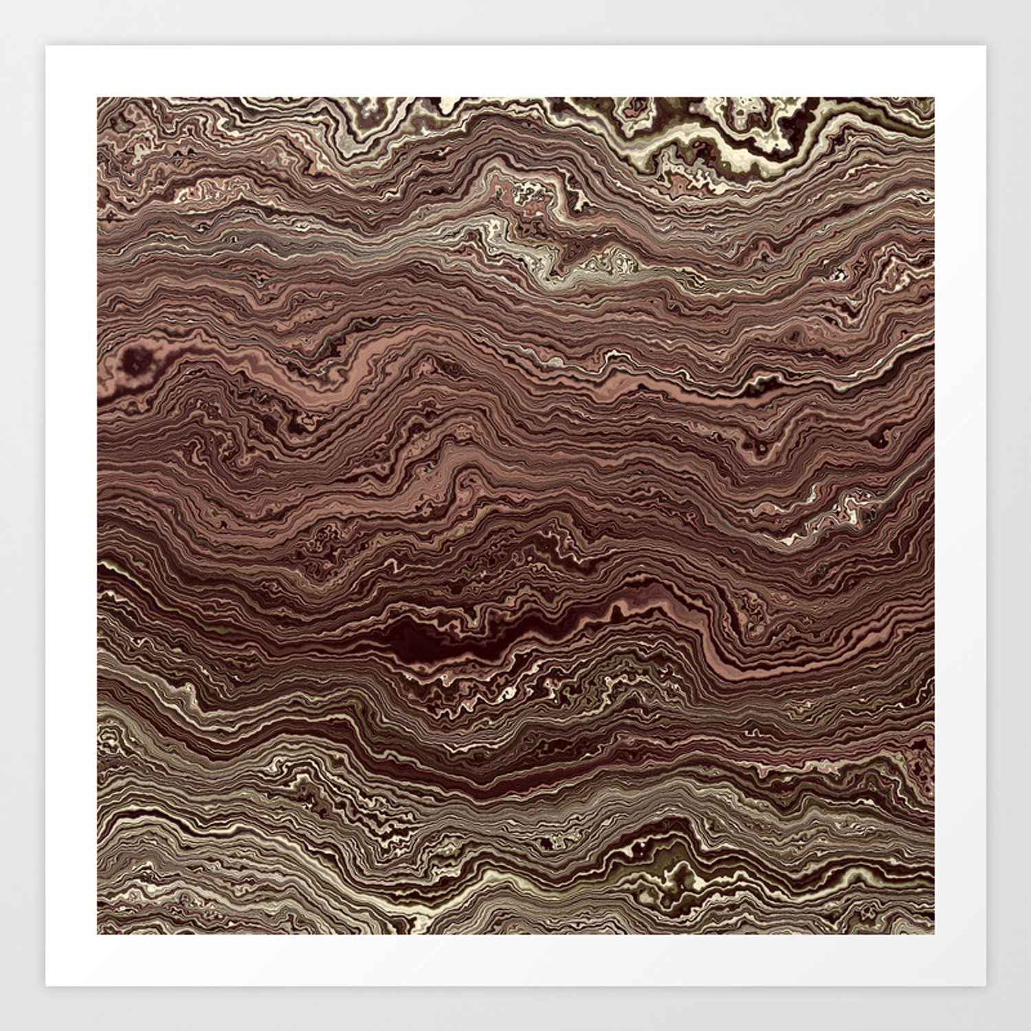Dark Brown Marble Texture Art Print By All4you Society6