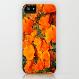 Sage Green Art Golden California Poppies Design iPhone Case