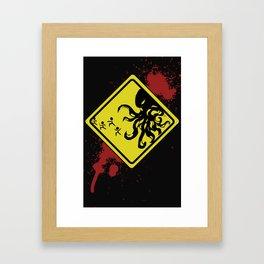 Caution Cthulhu Framed Art Print