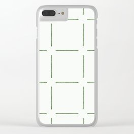 Block Print Simple Squares in Green Clear iPhone Case